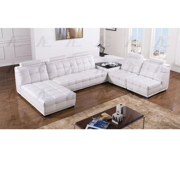 5 Pcs Tufted White Faux Leather Sectional Sofa Set With Corner Table