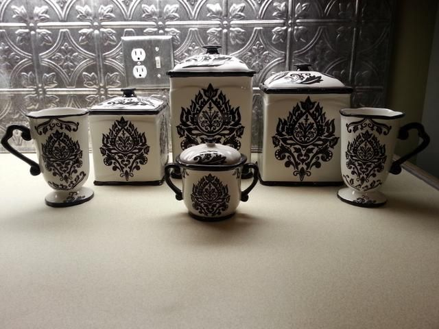 Black/White Damask Kitchen Canister Set $65
