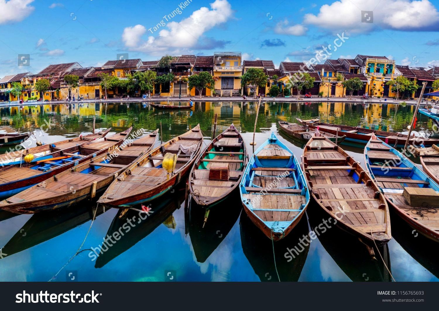 of boats on busy river in Hoi An, Vietnam. Hoi An is the World's Cultural heritage site. ,View of b