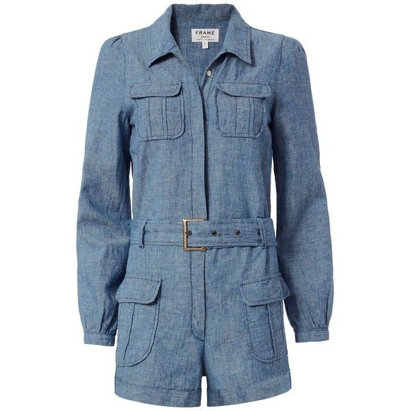 5e3ce614b746 FRAME EXCLUSIVE Belted Chambray Romper ( 350) ❤ liked on Polyvore featuring  jumpsuits