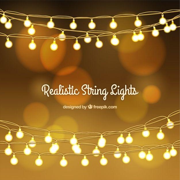 Fondo bokeh dorado con guirnaldas de luces vector gratis for Guirnaldas de luces