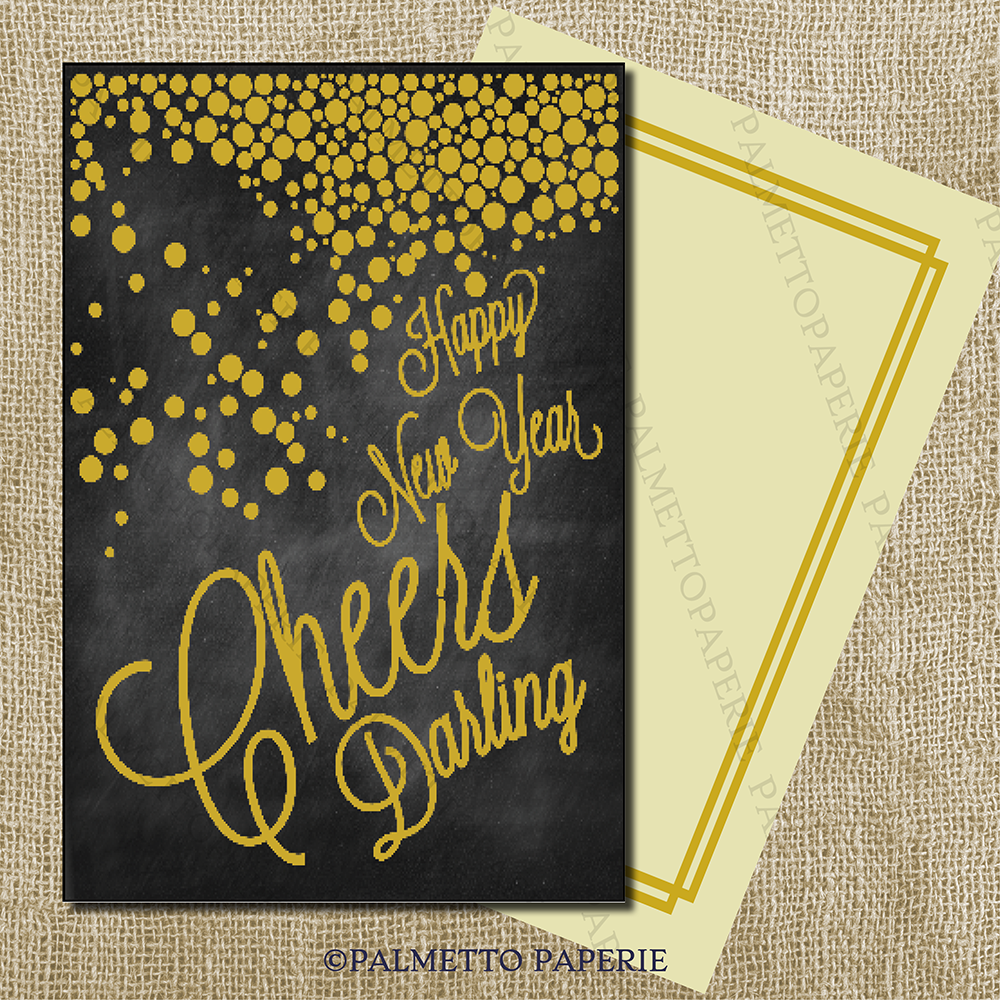 Cheers Darling! Happy New Year! Flat Correspondence — Palmetto Paperie #newyearscard