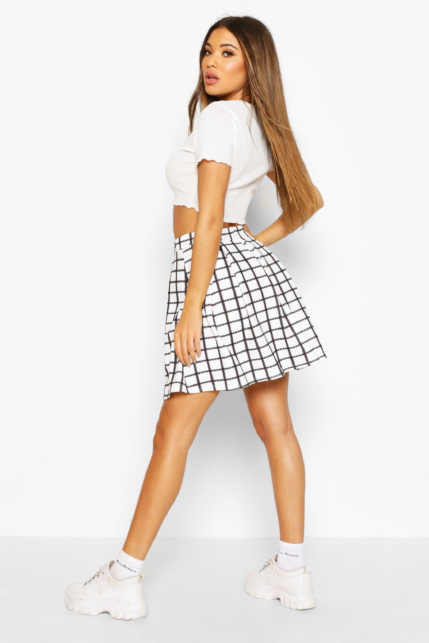 Womens Sketchy Grid Flannel Box Pleat Skater Skirt – White – 4