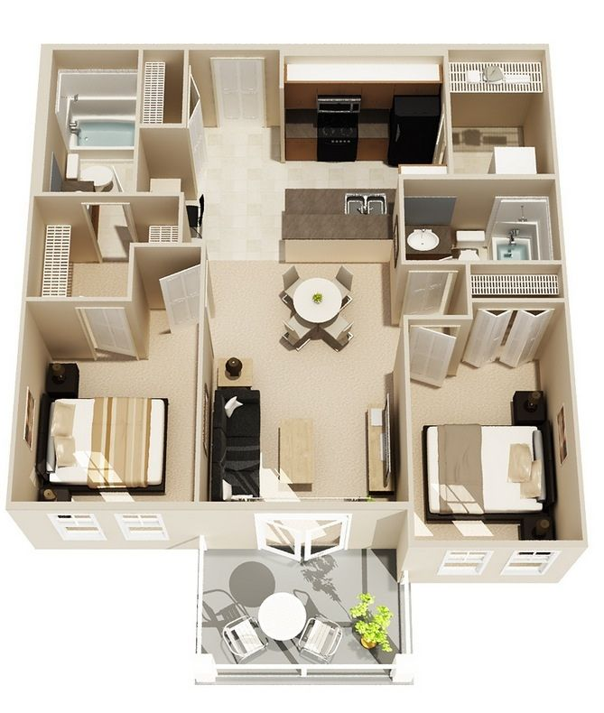 Simple Two Bedroom Floor Plan Jpg 669 790 House Plans Apartment Floor Plans 3d House Plans