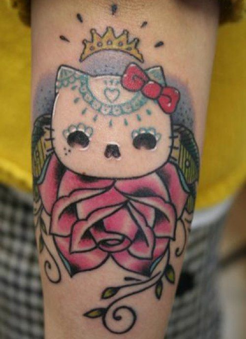 Hello Kitty Day Of The Dead Tattoo Hello Kitty Tattoos Cat Tattoo Kawaii Tattoo