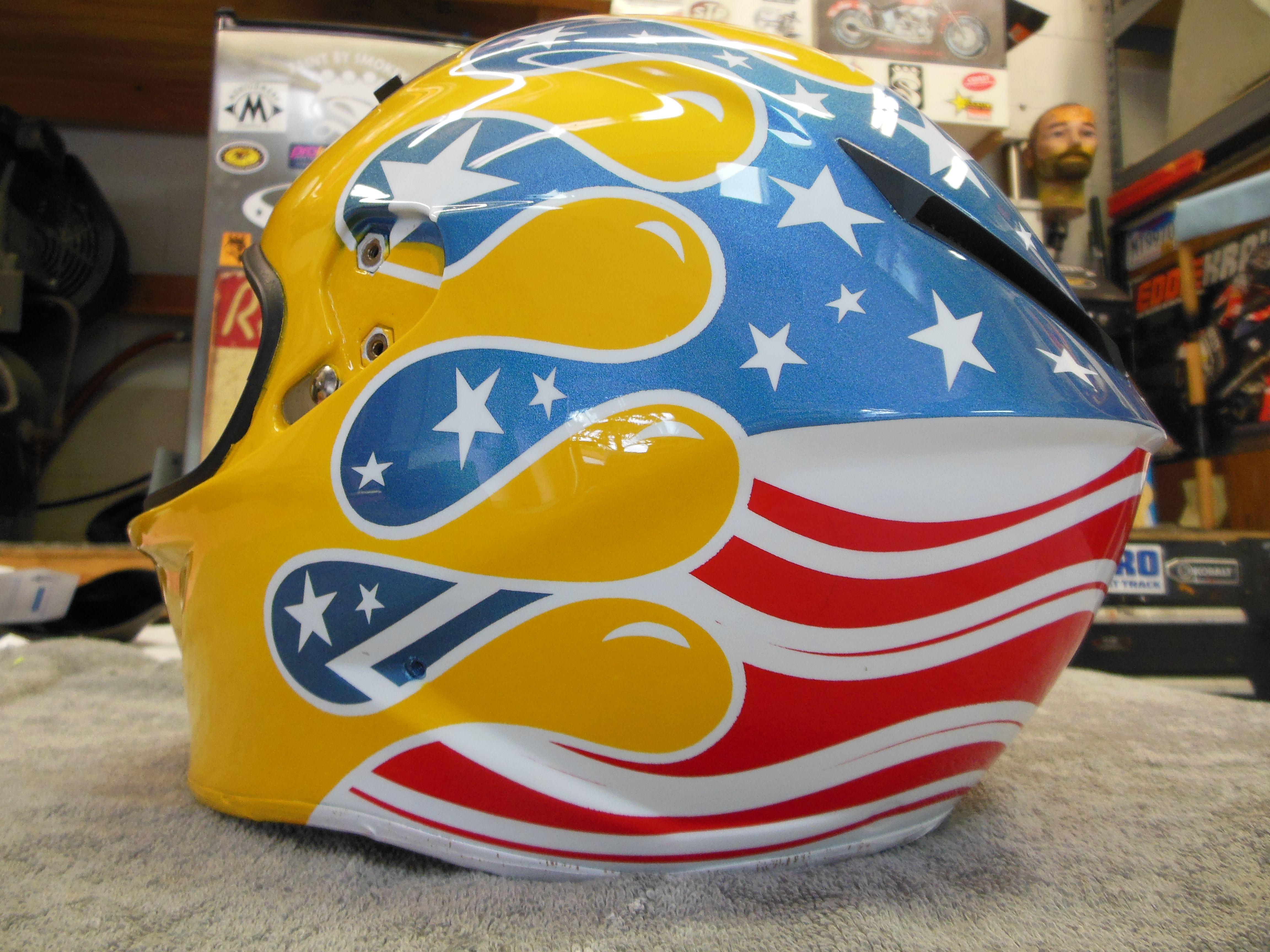 Phil Occonor Custom Painted American Flag Cartoon Paint Drip Full - Motorcycle helmet decals militarysubdued american flag sticker military tactical usa helmet decal