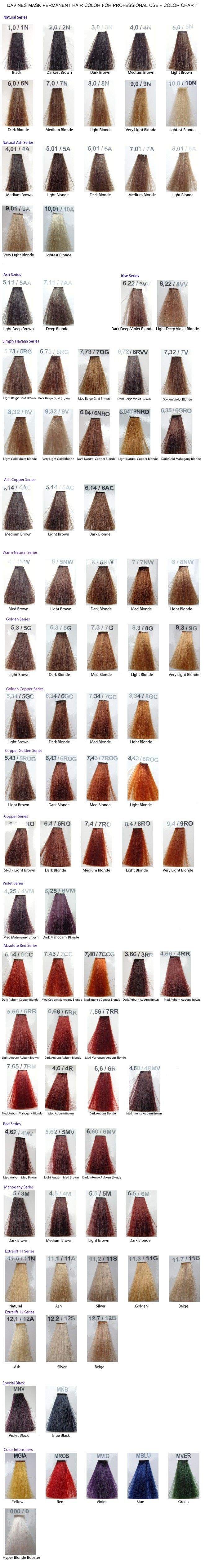 Davines Mask Color Chart Hair Pinterest Colour Chart Chart