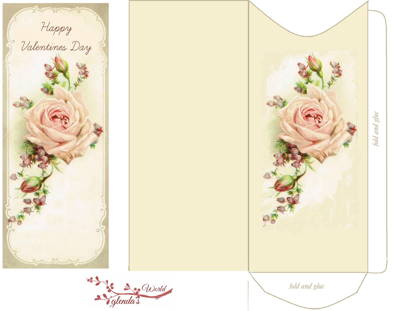 Free-printable Pink Rose Valentine Card and envelope | Do It ...