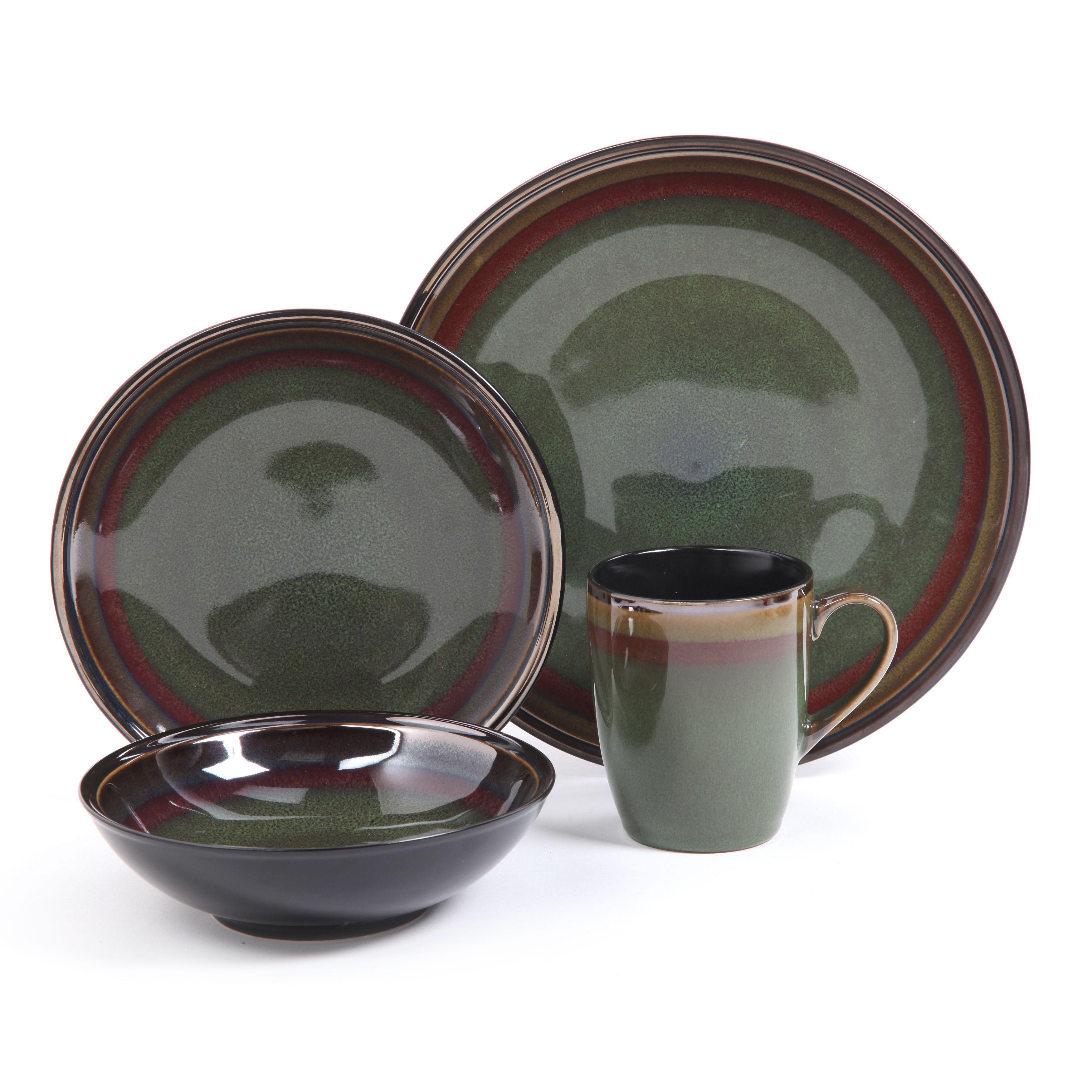 Tequesta Round 16-piece Green Stoneware Dinnerware Set (Gibson Elite- Tequesta)  sc 1 st  Pinterest & Tequesta Round 16-piece Green Stoneware Dinnerware Set (Gibson Elite ...