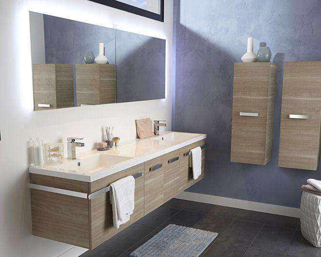 Grande Salle De Bain Familiale Belice CASTORAMA Idées Pour La - Meuble salle de bain ambiance zen
