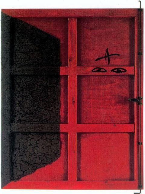 Tapies Antoni 1923 2012 1995 Red Door Private Collection Red Art Art Famous Art
