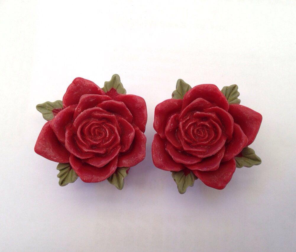 Maroon Vintage Rose Ear Plugs by TeacupRose on Etsy https://www.etsy.com/listing/179139555/maroon-vintage-rose-ear-plugs