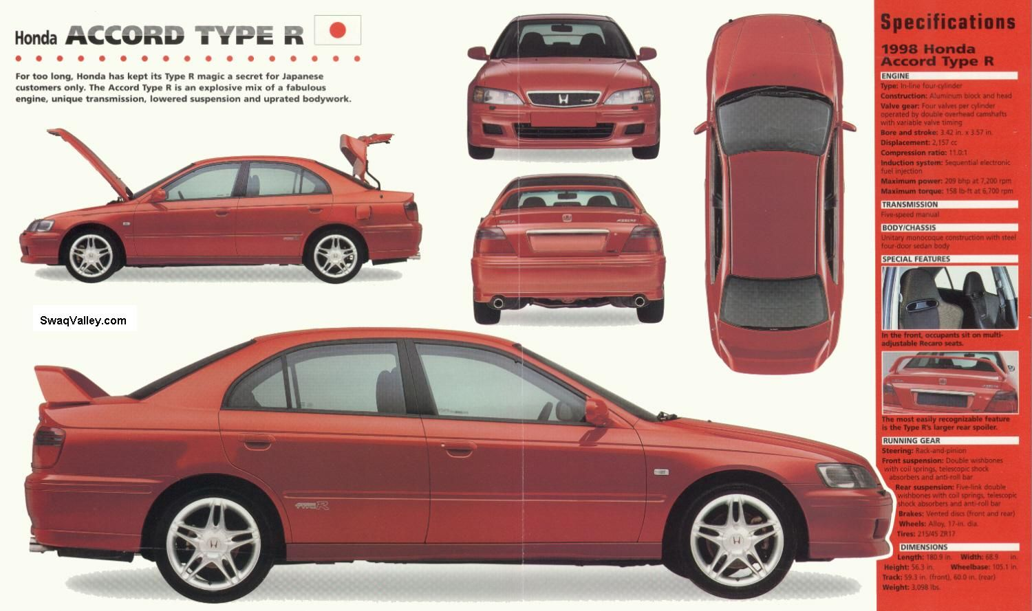 Honda accord type r 1998 spec sheet