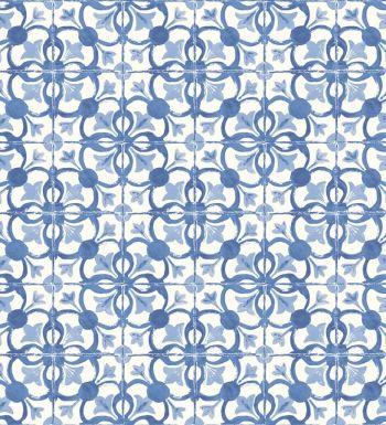 Papel pintado azulejos vin lico para cocina azul cobalto y for Deco de cocina azul blanco