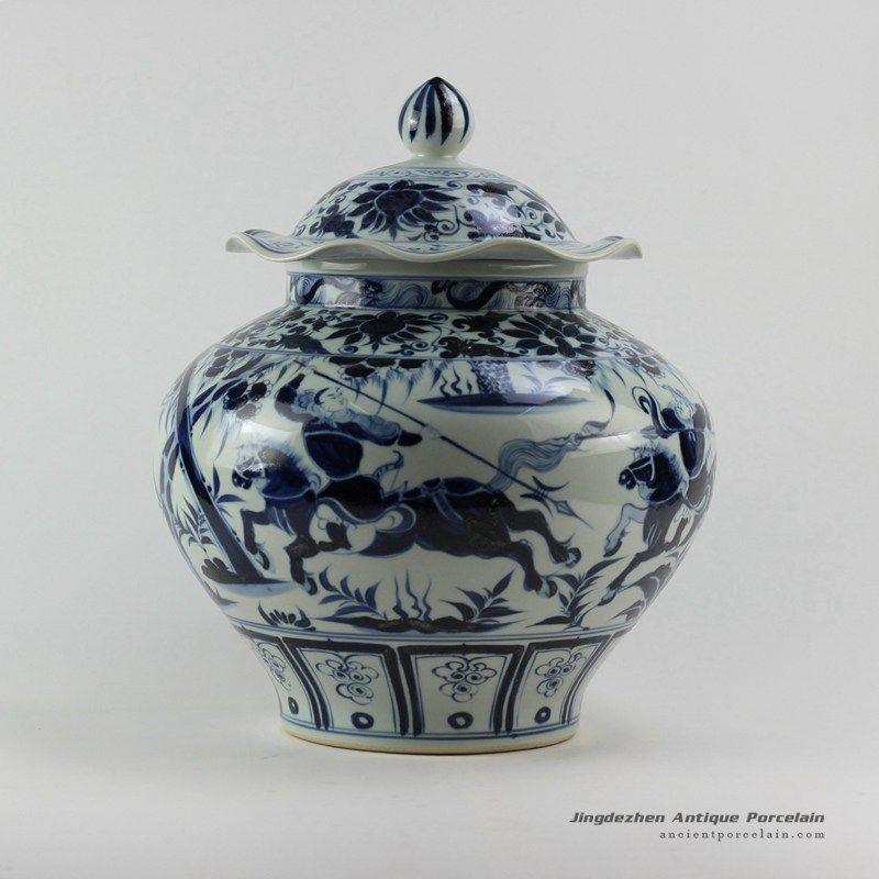 Ming Reproduction Soldier Design Blueandwhite Jars Ancient