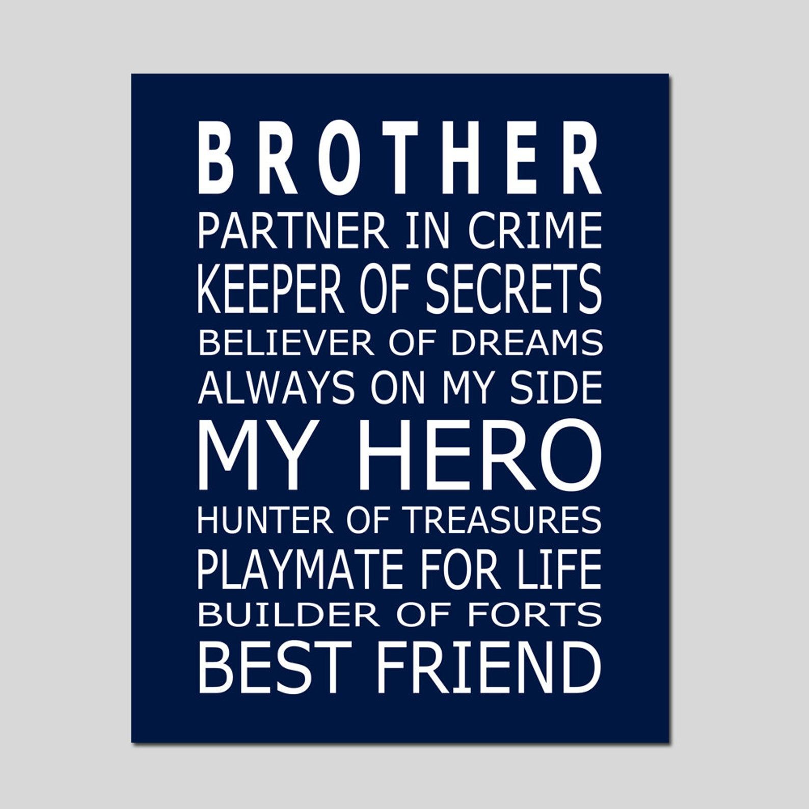 Brothers Print Brothers Quote Brothers Decor Big Brother Etsy In 2020 Little Brother Quotes Brother Birthday Quotes Big Brother Quotes