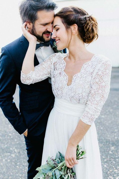 3/4 Sleeve See Through Backless Lace & Chiffon Rustic Wedding Dresses AWD1261