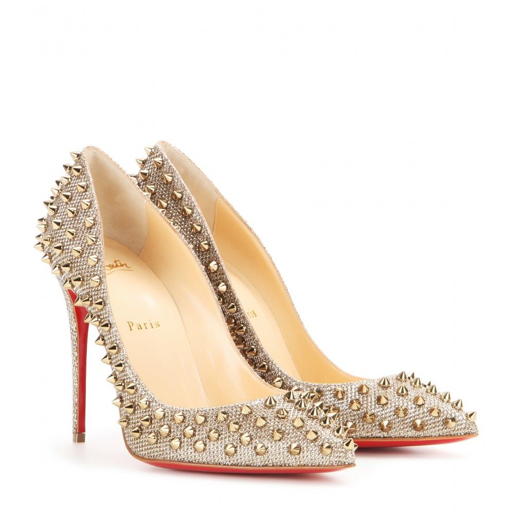 the latest 6a501 9d167 CHRISTIAN LOUBOUTIN Follies Spikes embellished glitter pumps ...