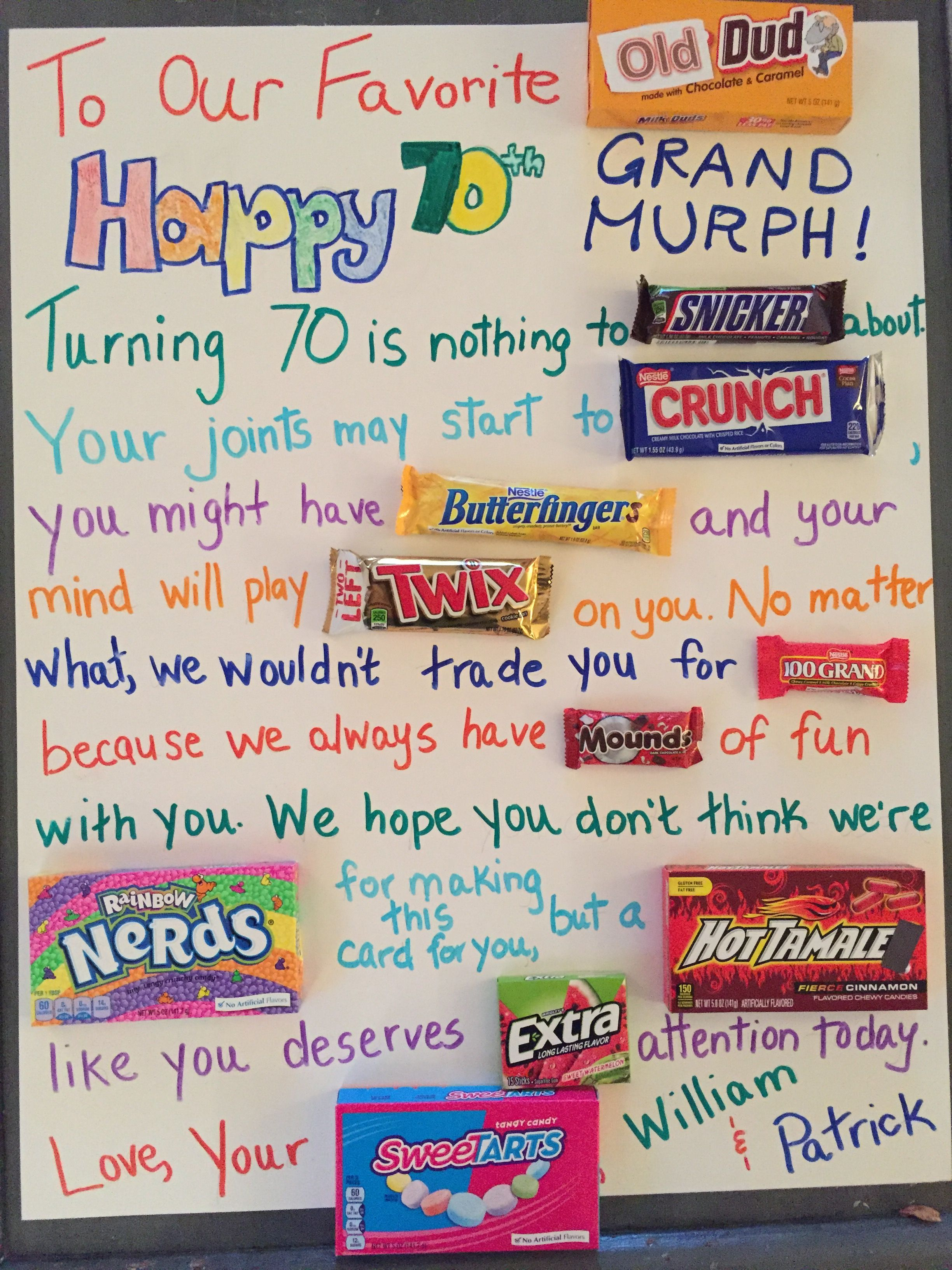Milestone Birthday Candy Poster Happy 70th Grandpa Happy Birthday Posters Birthday Candy Poster Candy Poster