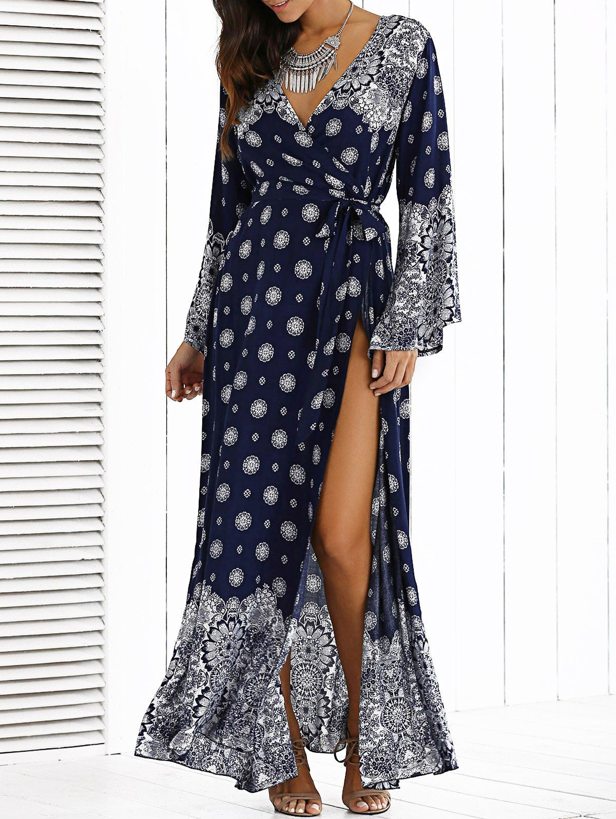 High furcal crossover belted maxi dress crossover maxi dresses