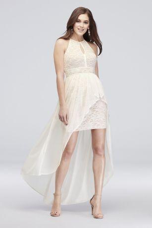 618e03d6b315c Lace Glitter Keyhole Halter Dress with Overskirt 12163