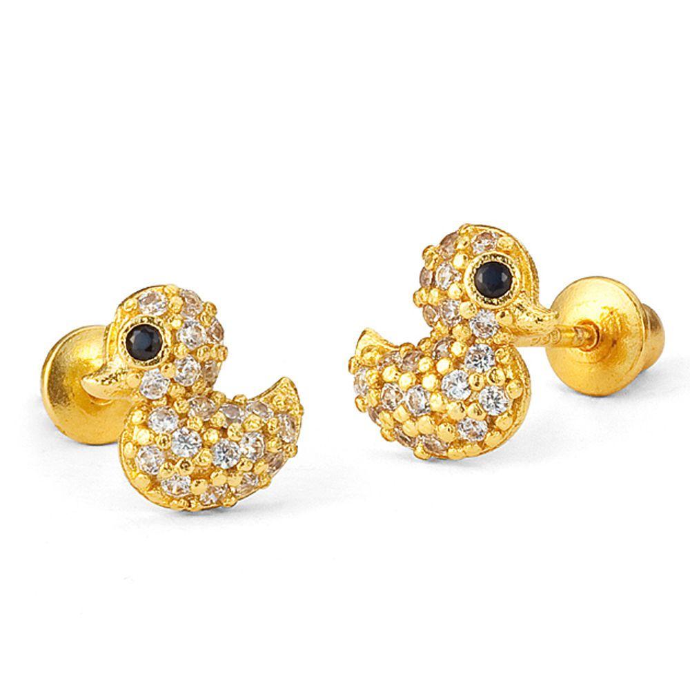14k gold plated brass baby duck screw back girls earrings