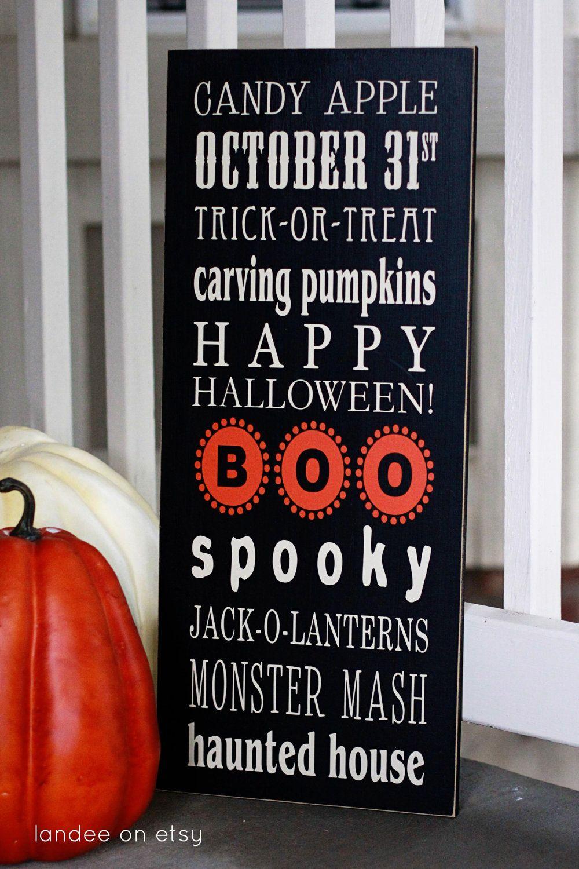 halloween subway art-- 10x24 wood and vinyl board | halloween ideas