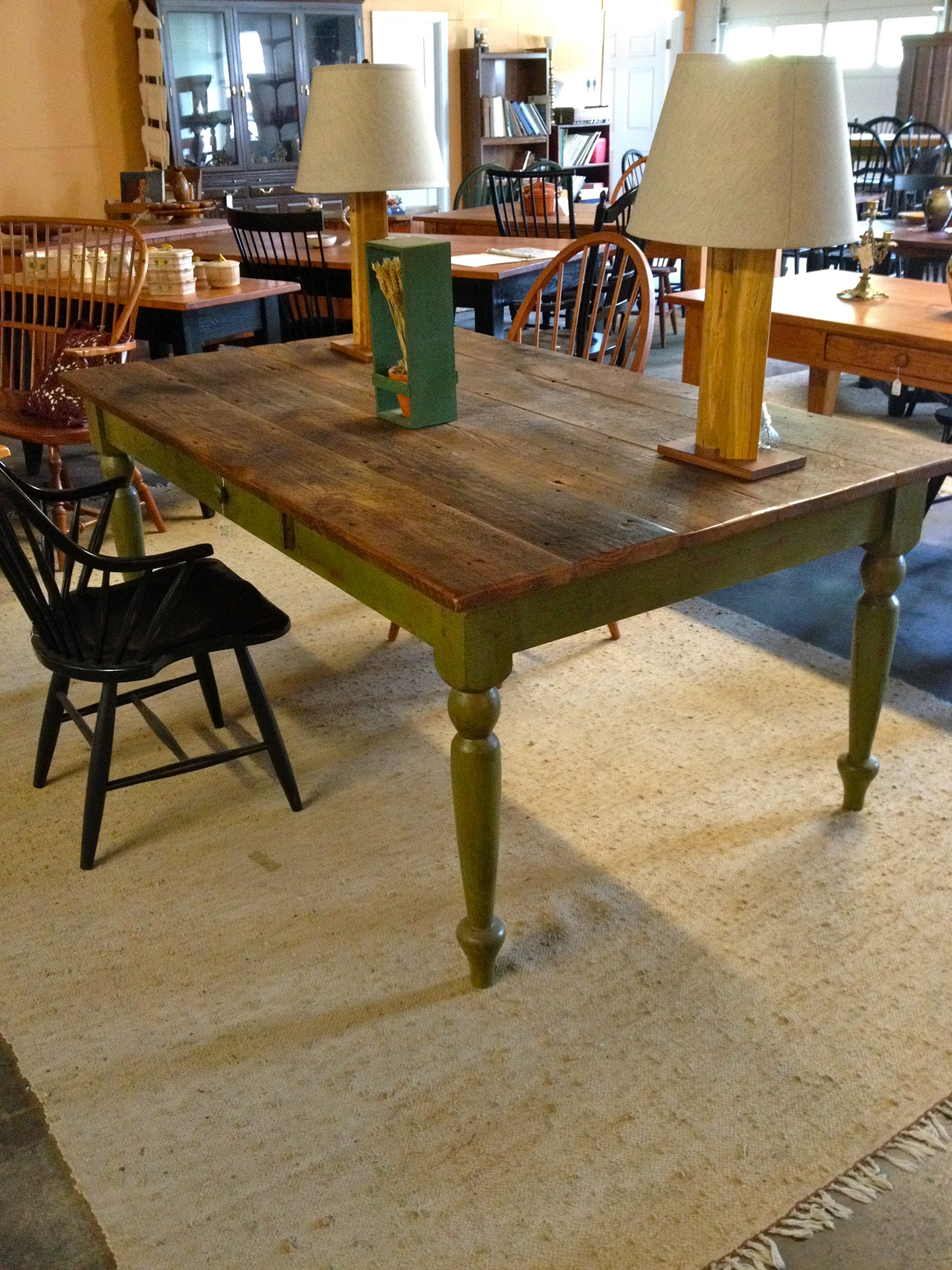 Natural Wood Green Farm Table In X In Standard Height - Natural wood farm table