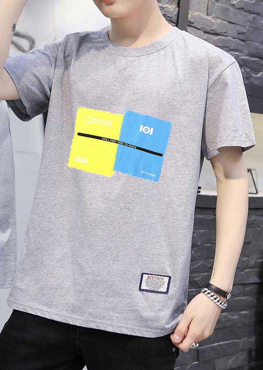 Grey short sleeve t shirt color block pattern print (With