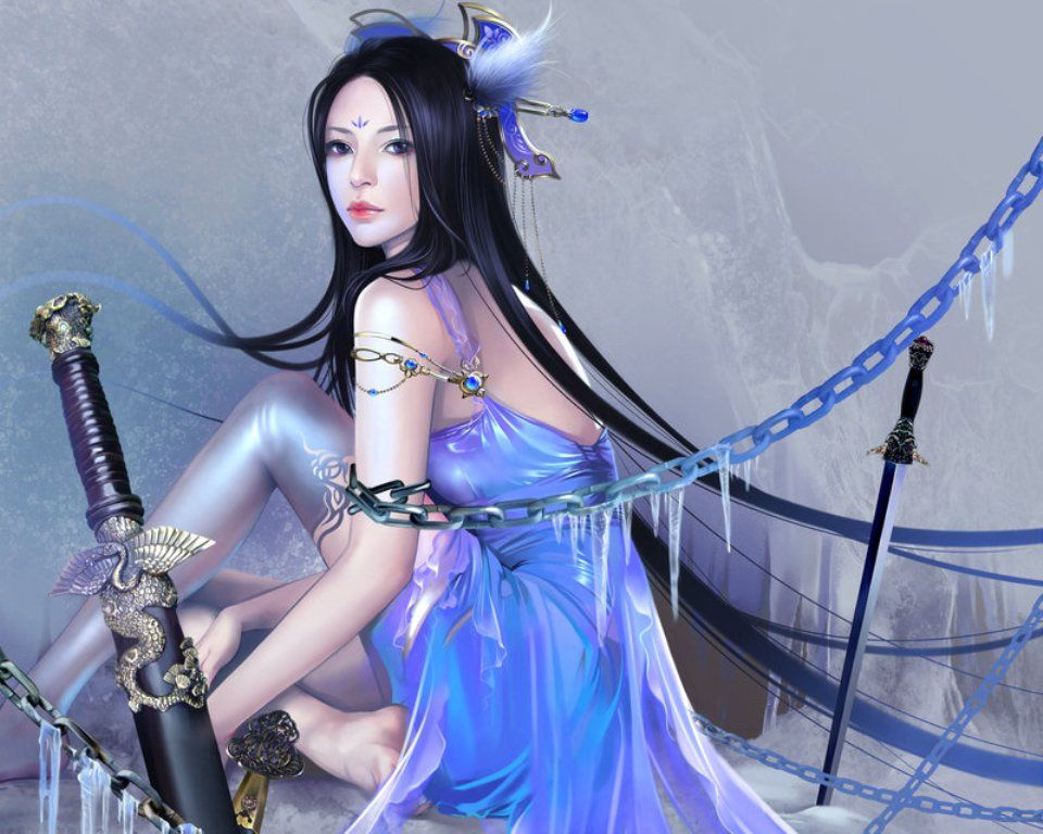 art fantasy warrior Asian woman