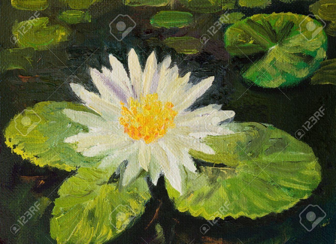 20706932 una pintura al leo de un lirio de agua en un for Pintura para estanques