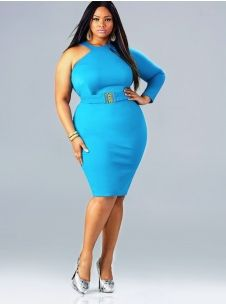 """Leann"" One Shoulder Dress With Detached Belt - Turquoise"