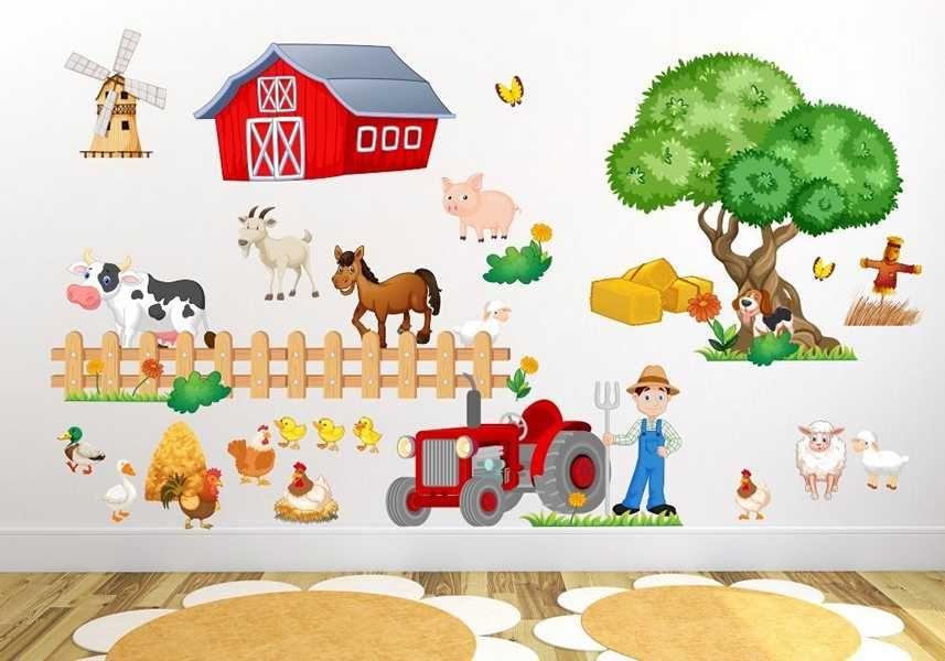 Wandtattoo Kinderzimmer Bauernhof niedliche Tiere mit Kuh, Schwein ...