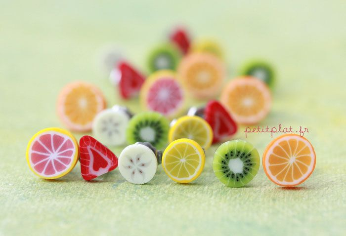 Fruit Slice Post Earrings - Colorful Fruit Salad - Healthy Collection. €10.00, via Etsy.