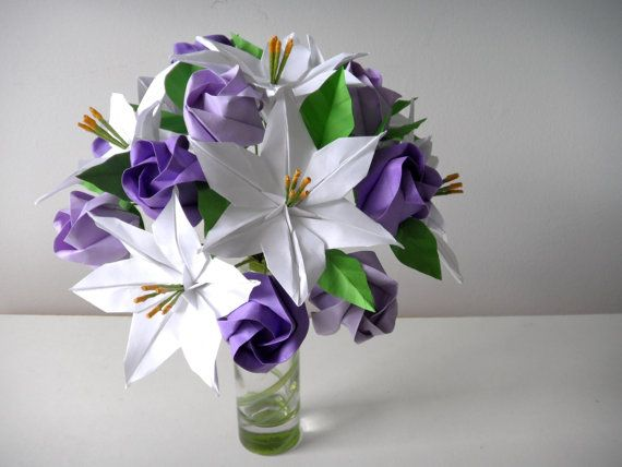 White Lilies & Purple Roses Origami Paper Flower Bouquet | Paper flowers, White lilies, Purple roses