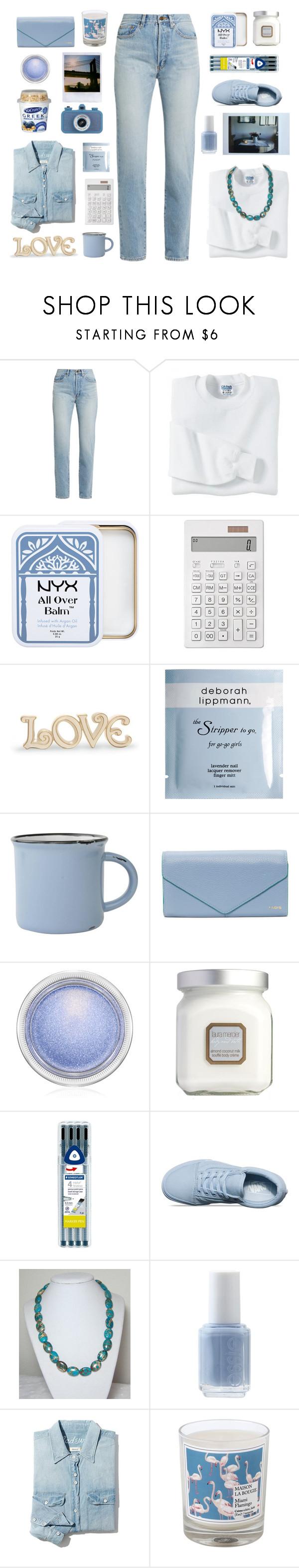 """baby blue"" by tinkertot ❤ liked on Polyvore featuring Yves Saint Laurent, Gildan, Muji, Lenox, Deborah Lippmann, MAC Cosmetics, Laura Mercier, SAM, Vans and Polaroid"