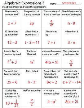 Algebraic Expressions 3 Worksheet Algebraic Expressions Math