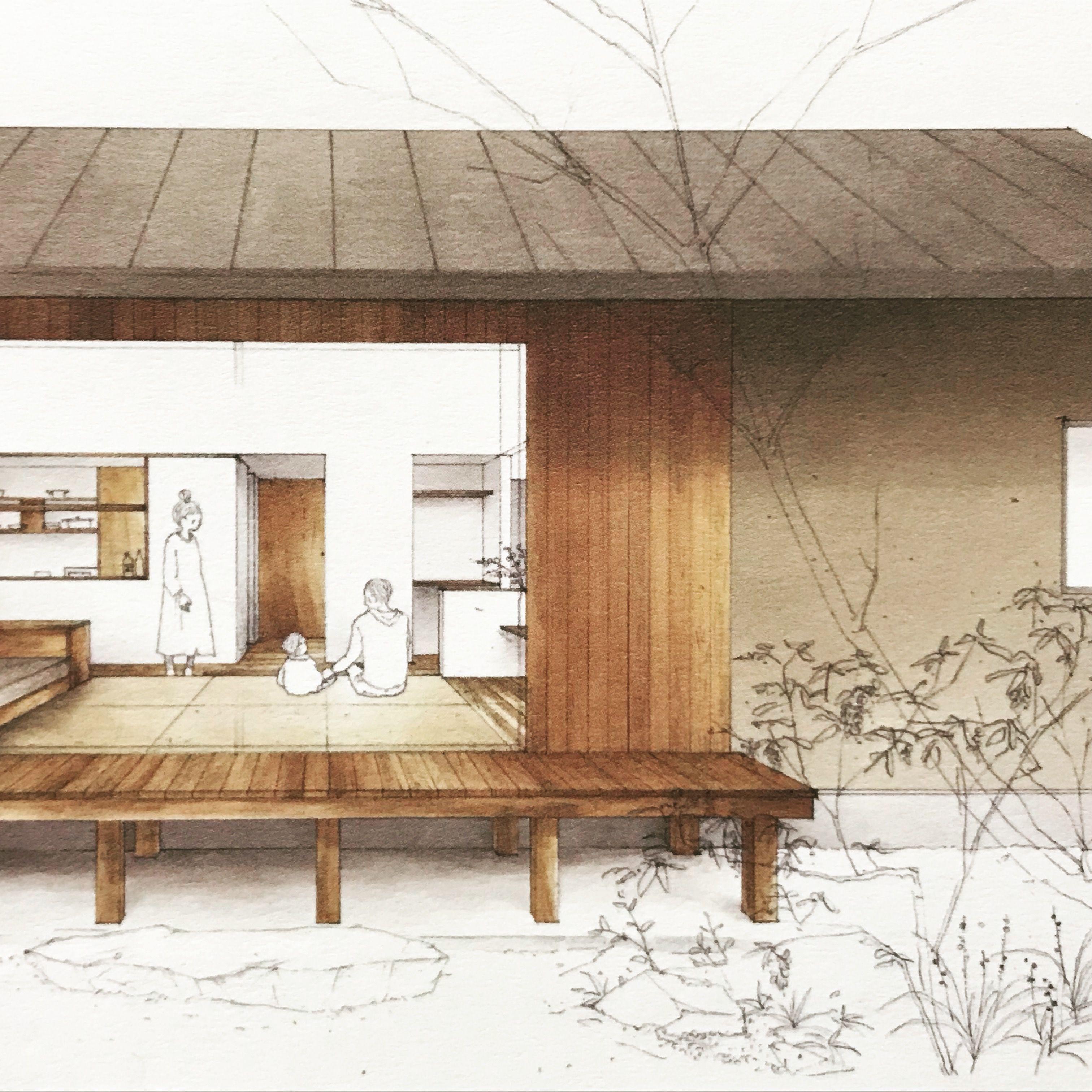 切妻屋根をもつおおらかな佇まいの平家が完成しました 畳リビングに
