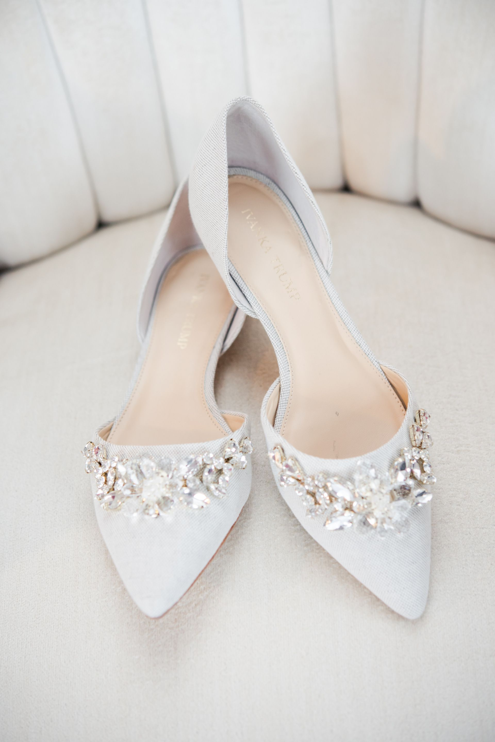 Glitzy D Orsay Heels Classic Meets Glamorous White Bridal Shoes Diamond Embellishments Da Embellished Wedding Shoes Fun Wedding Shoes Wedding Shoes Flats