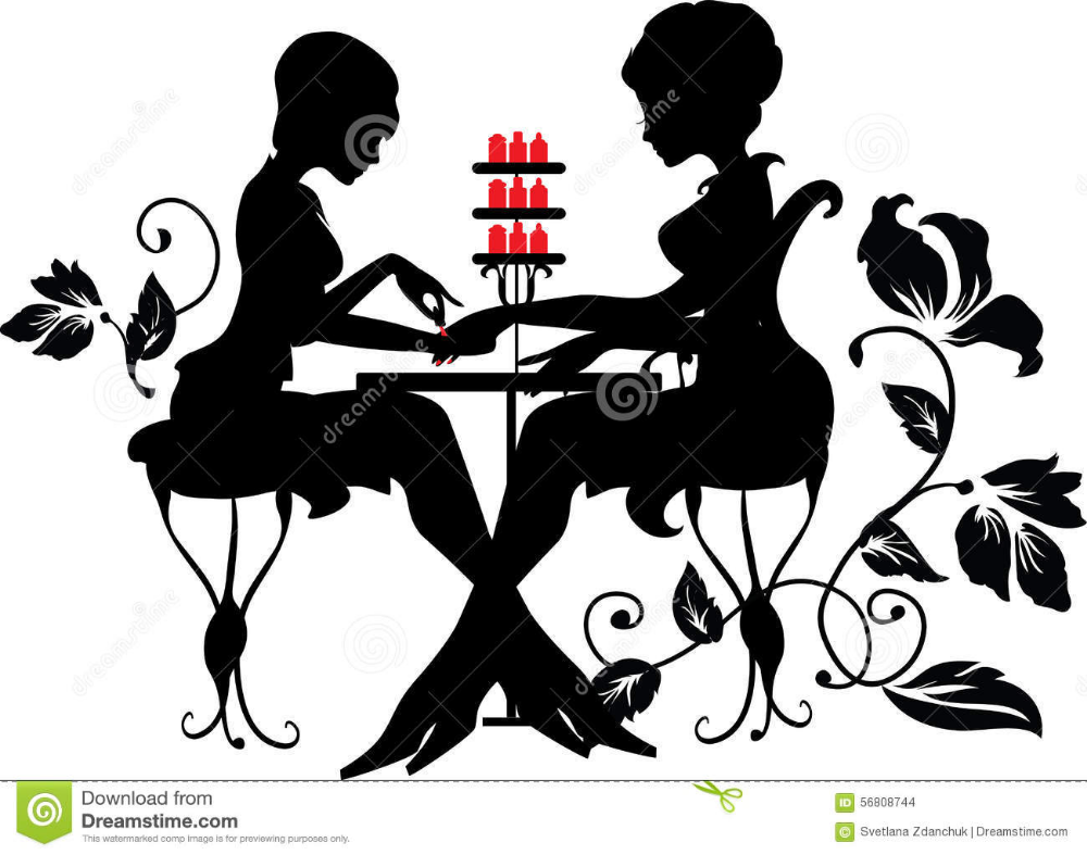 Download Two Silhouettes Woman Manicure Process Vector
