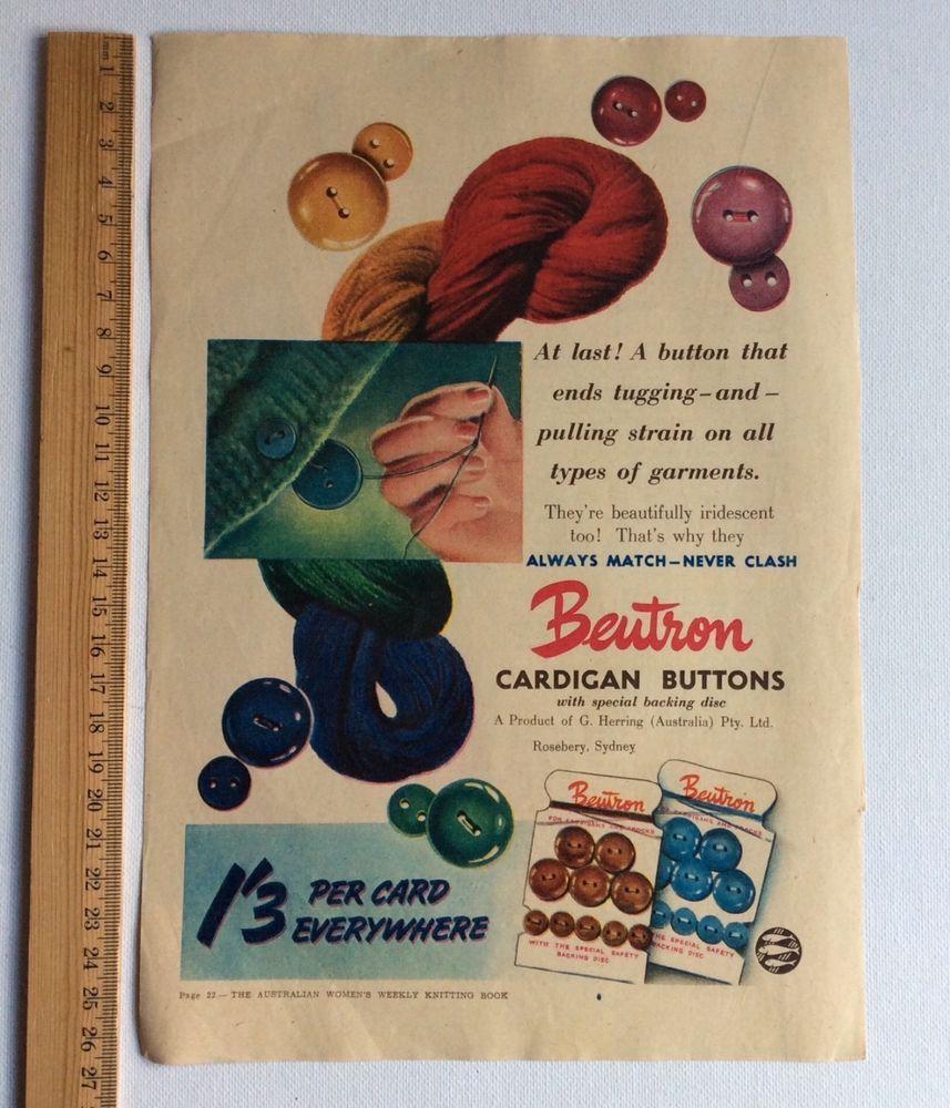 Original Colour Vintage Print Advertisement Beutron Buttons Australian Sewing