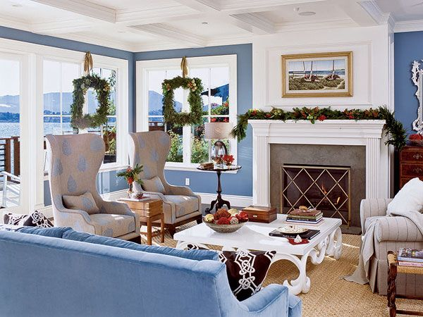 This Classic Blue And White Coastal Living Room Gets A Holiday Makeover  With Fresh