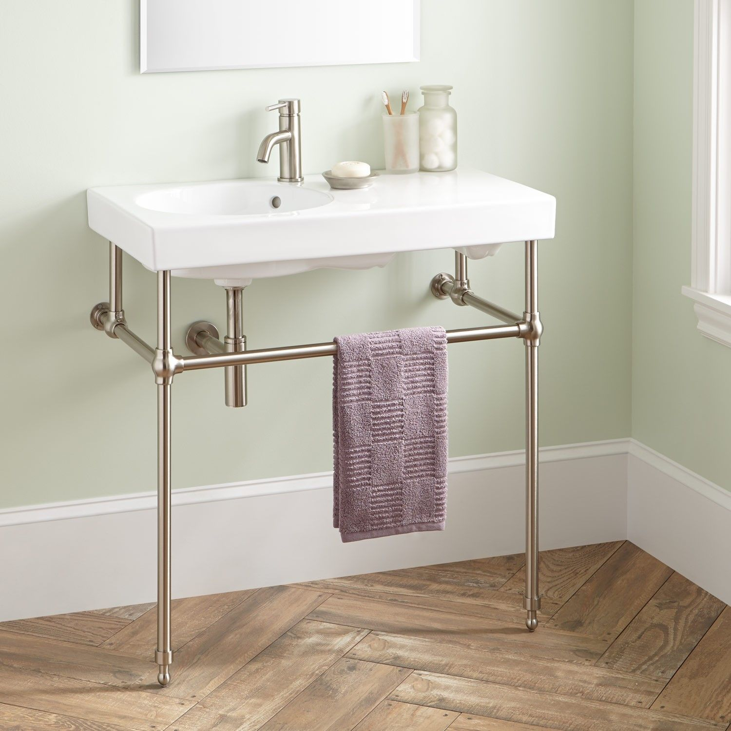 Ostrya Porcelain Console Sink with Brass Stand