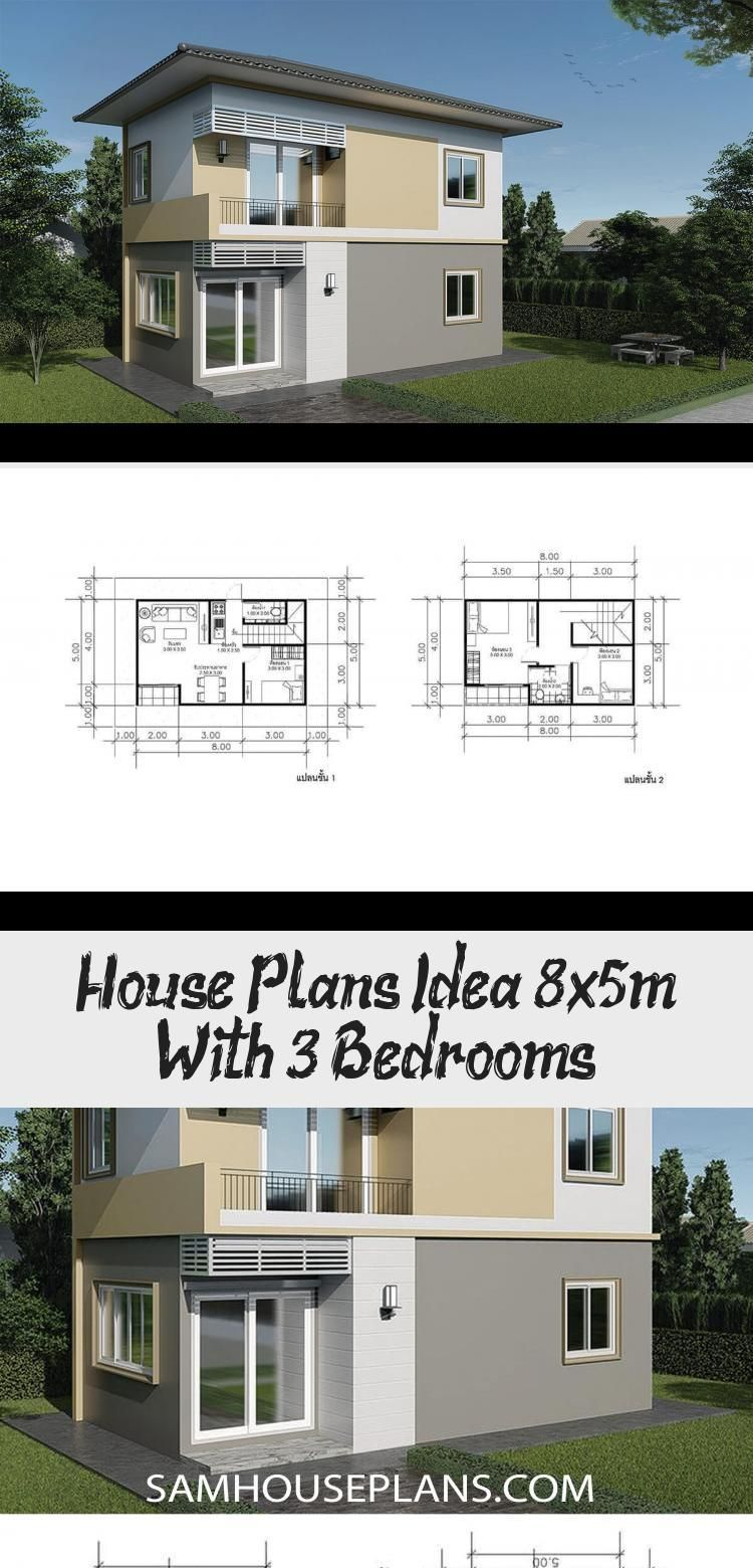 House Plans Idea 8x5m With 3 Bedrooms Sam House Plans Smallhouseplanswithgarage Smallhouseplansunder800sqft Smallh In 2020 House Plans Courtyard House Plans House