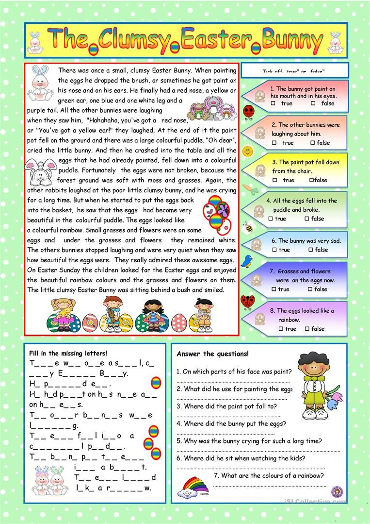 The Clumsy Easter Bunny Key Included Worksheet Free Esl Printable Worksheets Made By T Easter Reading Comprehension Easter Readings Comprehension Exercises [ 1079 x 763 Pixel ]