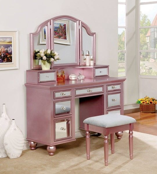 Furniture of America Tracy Rose Gold Vanity with Stool | Pinterest