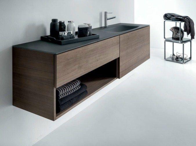 Mueble bajo lavabo suspendido en nogal con cajones for Bajo gabinete tocador bano de madera