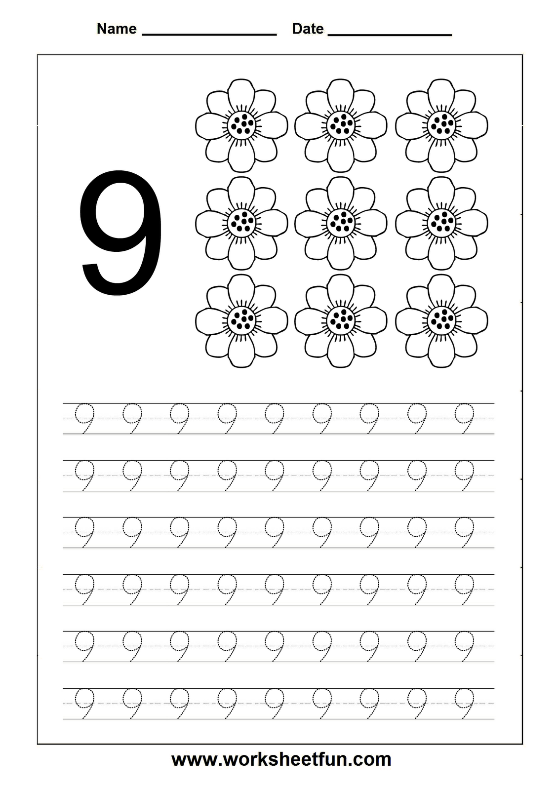 Numbers tracing printables for preschoolers - Number Tracing Worksheet 9