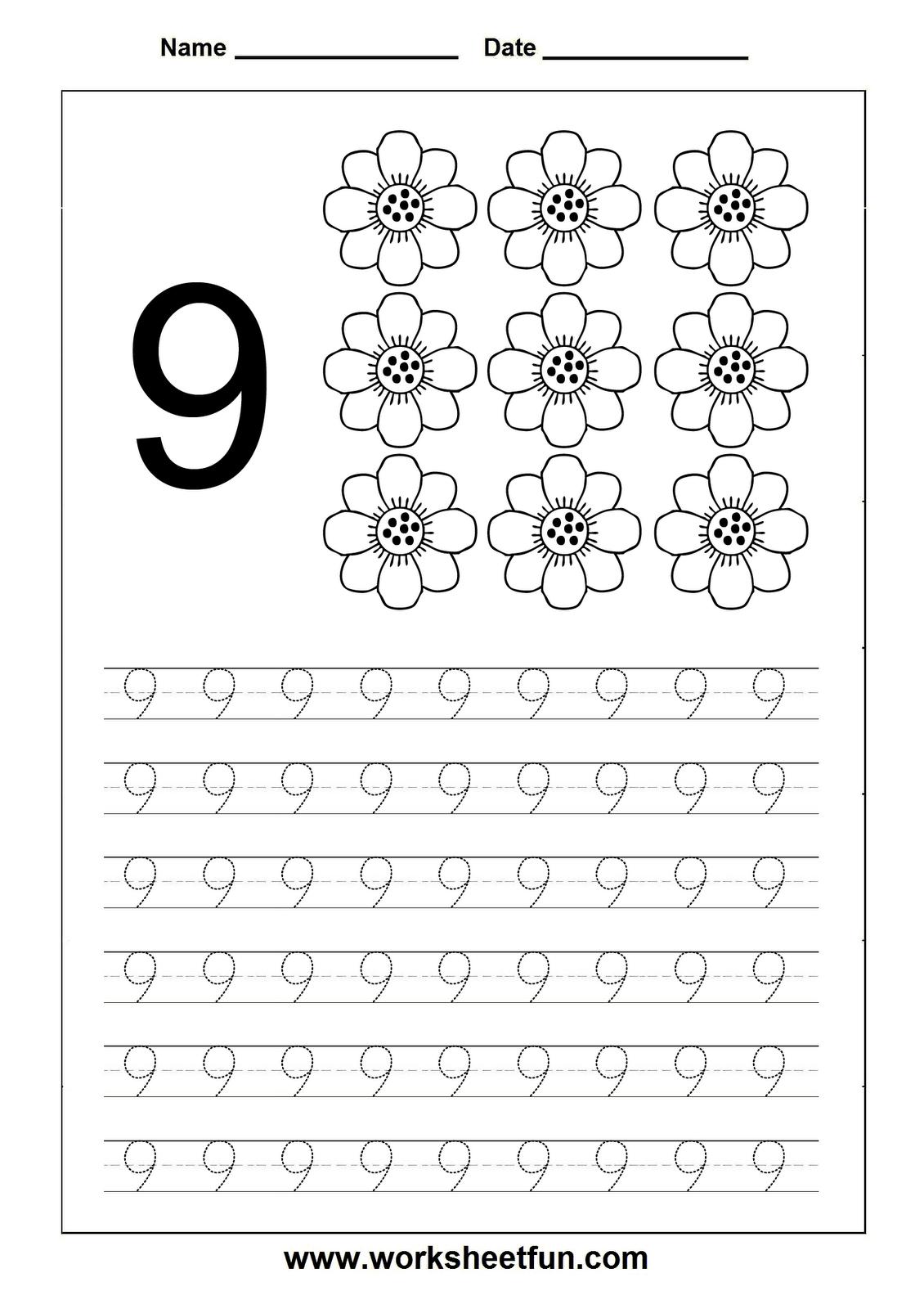 Number Tracing worksheet - 9 | Fișe ptr. preșcolari | Pinterest ...