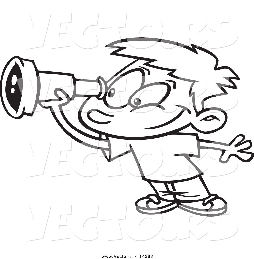 Download vector-of-a-cartoon-smiling-boy-using-a-telescope-coloring-page-outline-by-ron-leishman-14368 ...